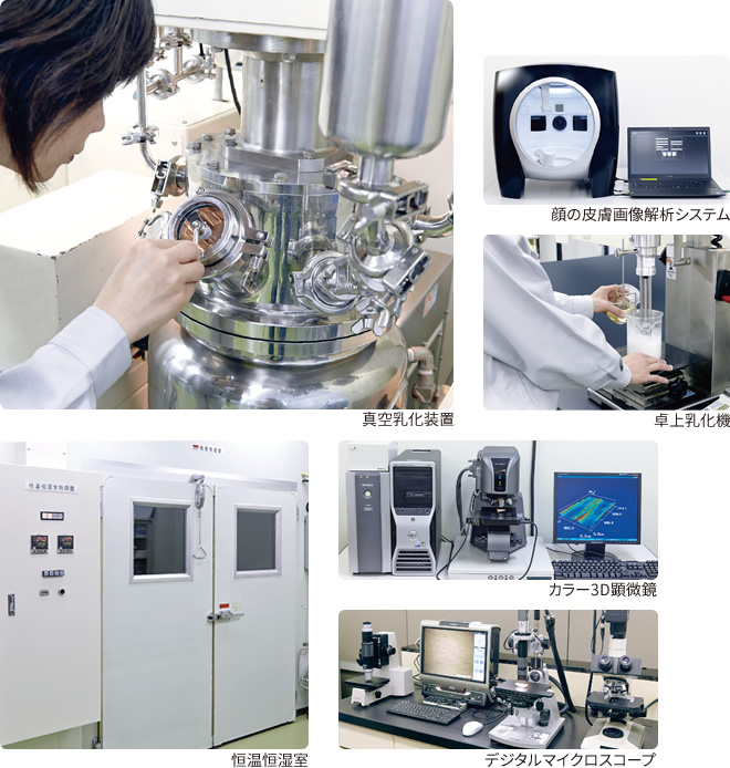 研究開発機器 真空乳化装置 顔の皮膚画像解析システム 卓上乳化機 恒温高湿室 カラー3D顕微鏡 デジタルマイクロスコープ