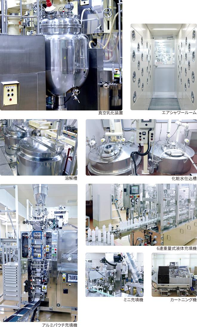 真空乳化装置 エアシャワールーム 溶解槽 化粧水仕込槽 アルミパウチ充填機 6連重量式液体充填機 ミニ充填機 カートニング機